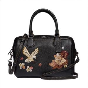 Authentic COACH leather flower embroidery Crosby